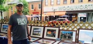 Ed Bolcar Jr. shows his oil paintings at the Bethlehem ArtWalk on August 30. Bolcar took up oil painting after his daughter, an art major, brought home art supplies.