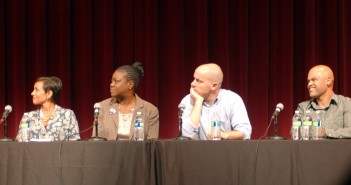 Panelists, left to right,  Niaz Kazravi, Sybrina Fulton, Michael Skolnik and Carlito Rodriguez discuss the criminalization of America's black youth. This dialogue was held on September 16 in Zoellner Arts Center. (Aminat Ologunebi/B&W photo)