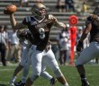 Sophomore quarterback Nick Shafnisky throws a pass during the Monmouth game on Sept. 27, 2014. The final score of the game was Monmouth 28-Lehigh 21. (Andrew Garrison/B&W photo)