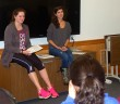Audrey Baer, '17, and Katie Jalboot, '17, present the BTS Sexy Hour Workshop on common sex myths to students in the UC on Oct. 22.  (Kiersten Moore/B&W photo)