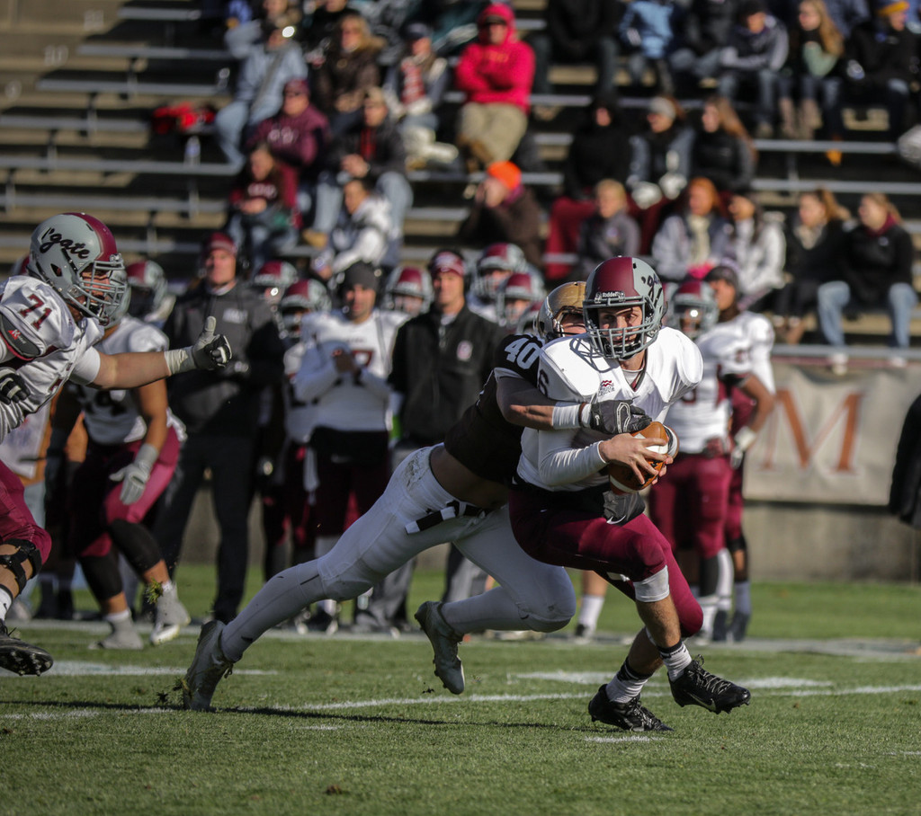 Junior linebacker Matthew Laub sacks Colgate's quarterback Bret Mooney during the Lehigh football game at Goodman Stadium on Nov. 15. Lehigh defeated Colgate 30-27. (Andrew Garrison/B&W Photo)