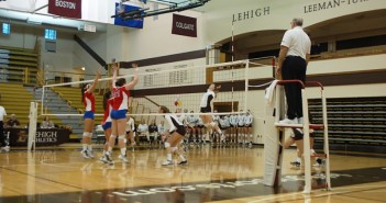 Leah Turner, '16, spikes the ball over the net at Grace Hall on Saturday in the matchup against American University. Lehigh beat first-ranked American in their final Patriot League matchup of the regular season, but ultimately lost the title to the Eagles.