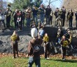Members of the Marching 97 perform in Central Park Nov. 21. Members of the band, cheerleaders and Clutch traveled around the city the day before the Lehigh-Lafayette game. (Abby Smith/B&W photo)