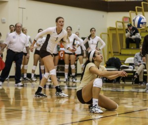 Sophomore libero Mariah Brantley goes for a dig at the volleyball game on Friday, Nov. 7, 2014. Lehigh beat Colgate by a score of 3-0