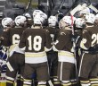 Lehigh players celebrate after scoring the winning goal at the Lehigh-Lafayette ice hockey match on Dec. 6. The Lehigh Mountain Hawks beat the Lafayette Leopards 5-4 in overtime. (Chris Barry/B&W photo)