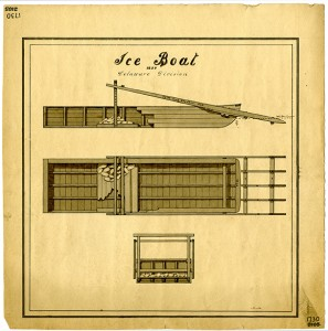 Ice Boat from 1839. (Courtesy of Special Collections)