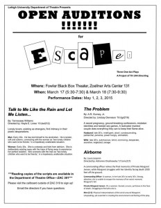 Auditions are open for a series of one act plays that will be held at the end of the semester. The plays are being held by a theatre class, Diresting 144. (Courtesy of Lehigh University's Department of Theatre)