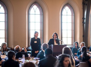 Ly Nguyen, '15, speaks at the women in business conference on Tuesday, March 24, 2015, at the Lehigh University center Asa Packer dining room. The event focused on the professional and personal issues facing women in business today with alumni speakers talking about their own experiences. (Andrew Garrison/ B&W photo)