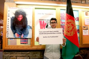 Students attend the memorial for Farkhunda on Monday, March 30, 2015, sponsored by the Fulbright Association, Global Union, and Department of Sociology and Anthropology. Farkhunda is an Afghan woman who was burned and beaten alive for falsely being accused of mocking the Qur'an. (Toni Isreal/B&W photo)