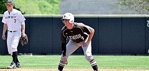 Sophomore third basemen Patrick Donnelly leads off of second base during a game against Army.  The Mountain Hawks start playing against Patriot League competition on Friday, March 27, when they take on Army. (Photo Courtesy of Lehigh Sports)