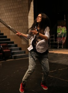 Xiaowe Tang, '17, dances on the stage in Diamond Theater on Thursday, April 23, 2015, preparing for the upcoming Inter(play) Hip Hop Symposium. The symposium was organized by Kashi Johnson, who teaches a class which focuses on theatre, hip-hop, dancing, and spoken word at Lehigh, called Act Like You Know. (Nan He/B&W photo)