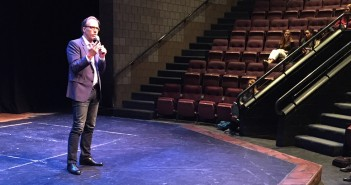 """Kirby Dick, Academy Award-nominated and two-time Emmy winning film maker, speaks at a screening of his newest film, """"The Hunting Ground,"""" on Wednesday, April 22, 2015, in Zoellner Arts Center. The documentary was made to expose the occurrence of sexual assault on college campuses. (Raven Atkins/B&W photo)"""