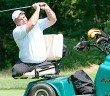 Marty Ebel, a member of the Eastern Amputee Golf Association, takes a shot from a  cart designed for amputees. The Eastern Amputee Golf Association was founded in 1986 by Bob Buck, who is a resident of Bethlehem, as well as a below-knee amputee (Courtesy of Bob Buck).