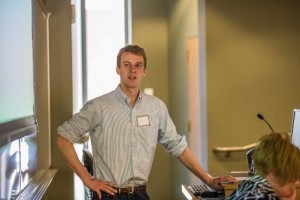 Timothy Parsons '15 speaks at the Undergraduate Ethics Symposium in STEPS on Saturday, April 18, 2015.   Four of the 14 students won prizes totaling up to $950. (Courtesy of Lehigh Communications)