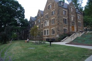 Ari Goret, '14, relaxes in front of Richards House on Tuesday, September 2, 2014. Richards is a first-year residence hall.