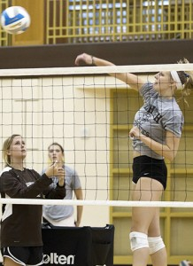 Senior Ana Vrhel spikes the ball in preparation for upcoming game on Monday, August 31, 2015. Lehigh's Womens Volleyball team will compete against Saint Peters University on September 4, 2015. (Toni Isreal/B&W Photo)