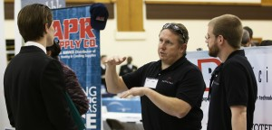Various corporations and businesses came to the Spring Career Fair to talk to Lehigh students on Tuesday, March 4, 2015 at Grace Hall. This is the seventh Annual Spring Career Fair hosted by Career Services. (Toni Isreal/ B&W photo)