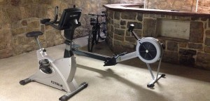 Many residents use the workout equipment in the lower level of House 104. House 104 currently located on the hill is now being used for Lehigh's fit living community. (Alex DiBrigida/B&W photo)