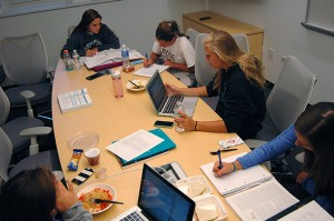 Sam Kratky, '19, Annie Pearson, '19, Courtney Henig, '19, and Liv Kelly, '19, study in Williams Hall on Monday Sept. 21, 2015. Many Lehigh students are using the campuses academic resources to prepare for upcoming midterms. (Alexis King/B&W photo)