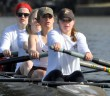 From front: sophomore Amanda Slominski, sophomore Abby Shreero, Cassie Barker, '15 and junior Karen McGraw practice on the Lehigh River in Allentown in spring 2015. The women's rowing team is preparing for its first meet on Sunday, Oct. 4, 2015. (Courtesy Lehigh Athletics)