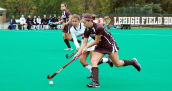 Junior defender Janelle High attempts to get past her opponent against Lafayette on Saturday, Oct. 3, 2015, at Ulrich Sports Complex. Lehigh suffered a 2-1 defeat, falling to 1-8. (Zion Olojede/B&W Photo)