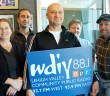 From left: WDIY 88.1 FM staff members Alison DelRe, community relations coordinator; Shamus McGroggan, membership and development manager; Wagner Previato, executive producer; Arlene Clendenning, office manager and bookkeeper; and Neil Hever, operations director pose for a photo on Tuesday, Oct. 6, 2015. The station is in the midst of their fall membership drive. The fundraiser began on Thursday, Oct. 1, 2015. (Aminat Ologunebi/B&W Photo)