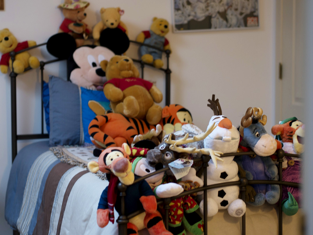 Stuffed Disney toys fill one of the themed bedrooms in the Angel Field. The house has three themed bedrooms to temporarily house pediatric cancer patients, based on items Nicole Sheriff collected during her 15 years of life.