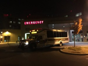A Lehigh bus arrives at Lehigh Valley Hospital – Muhlenberg to transport injured students back to Lehigh as they were released from the hospital on Tuesday, Oct. 27, 2015.