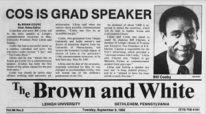 Bill Cosby is announced as commencement speaker in the Sept. 9, 1986, edition of The Brown and White.
