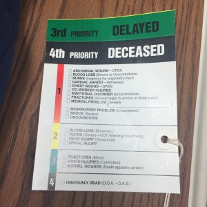 Students' injuries were assessed with this tag at the local hospitals' emergency rooms on Tuesday, Oct. 27, 2015. (Emily Hu/ B&W Photo)