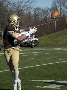 Sophomore wide reciever Gatlin Casey recives the ball at the 151st meeting of Lehigh and Lafayette College. Casey scored one touchdown in the game. (Chris Barry/B&W Photo)