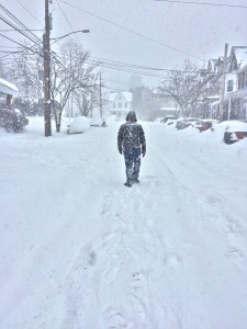 Joel Robinson, '17, walks on Montclair Ave. during a snow storm on Saturday, Jan. 23, 2016. Lehigh has had several snow delays recently due to severe winter storms. (Kelly McCoy/B&W Staff)