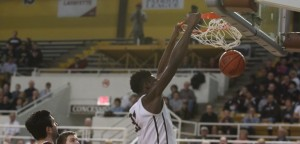Lehigh senior Jesse Chuku dunks on Lafayette in their game on Sunday, Feb. 21, 2016, at Stabler Arena. Chuku finished the game with 10 points and 8 rebounds to defeat the Leopards 73-61.(Gracie Chavers/BW staff)