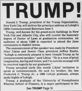 A clip from the November 20, 1987  Brown and White issue announces that Donald Trump will be the 1988 commencement speaker. Recent events have started a discussion on if the honorary degree Trump received at this speech should be recinded. (Courtesy of the Brown and White Archives)