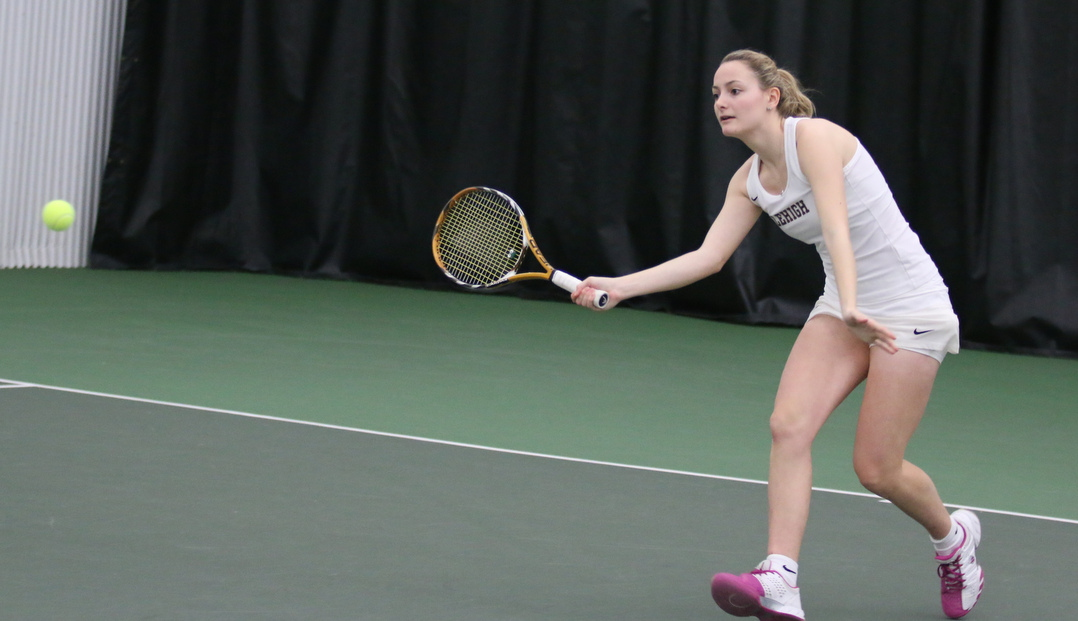 Junior captain Jamie Campisi won her match 6-0, 6-0 at the No. 3 singles position for Lehigh against Rider University on Sunday, March 6, 2016 at the Lewis Tennis Center. The Mendham, New Jersey, native is now 5-4 on the season in singles competition. (Michael Reiner/B&W Photo)