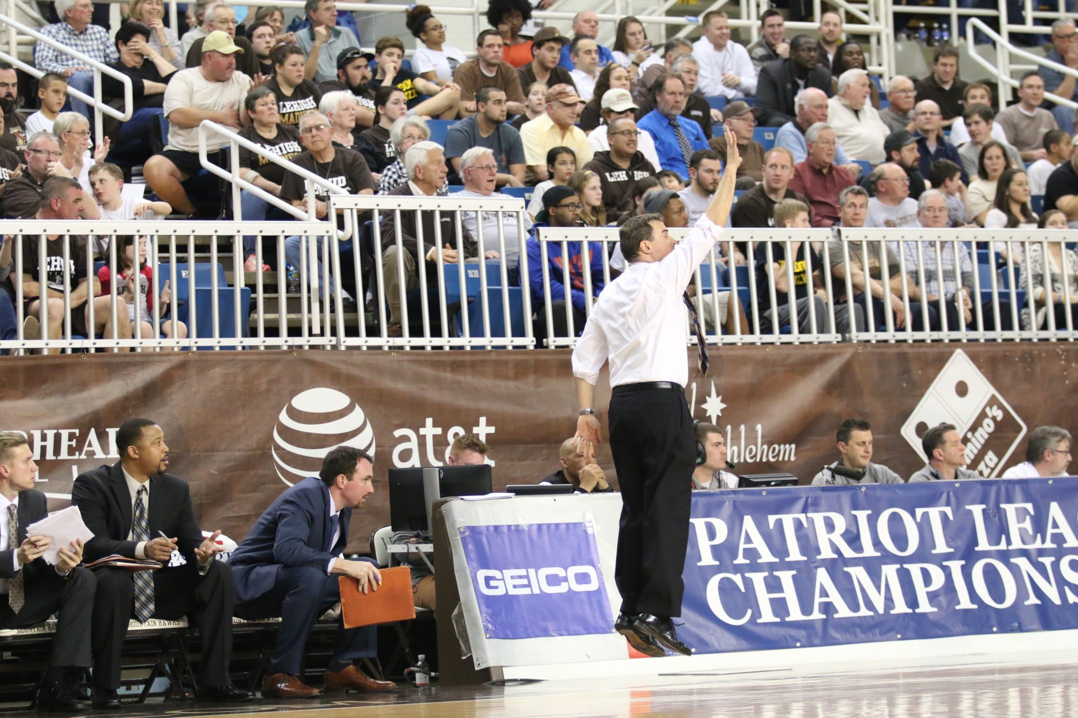 Lehigh head coach Brett Reed jumps in excitement during a heart stopping Patriot Leage championship game. The Mountain Hawks fell to Holy Cross 56-59 on Wednesday, March 9, 2016 at Stabler Arena. (Gracie Chavers/BW staff)