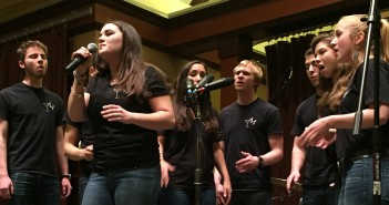 The Melismatics, a Lehigh acapella group, performed at the That's Mah Jam benefit contest Friday, March 20, 2015, in Lamberton Hall. The That's Mah Jam benefit raised money for Music is Medicine, an organization that pairs musical artists with pediatric patients, and collected canned goods for the Second Harvest Food Bank. (Margaret Burnett/B&W Staff)