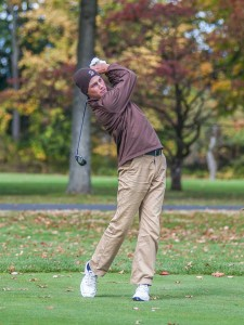 Senior Dave Olexson hits a ball at the Saucon Valley Golf Course on Saturday, Oct. 17, 2015. The men's golf team will compete in the Patriot League Tournament from April 30-May 1. (Courtesy of Lehigh Athletics)
