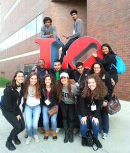 D-Life students stand in front of the LOVE statue by FML on Friday, April 8, 2016. Several students were cited for underage drinking this year during D-Life weekend. (Courtesy of Nadine Elsayed)