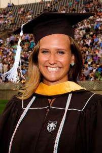 Abby Farrell wearing a Lehigh cap and graduation gown. (Courtesy of Abby Farrell)