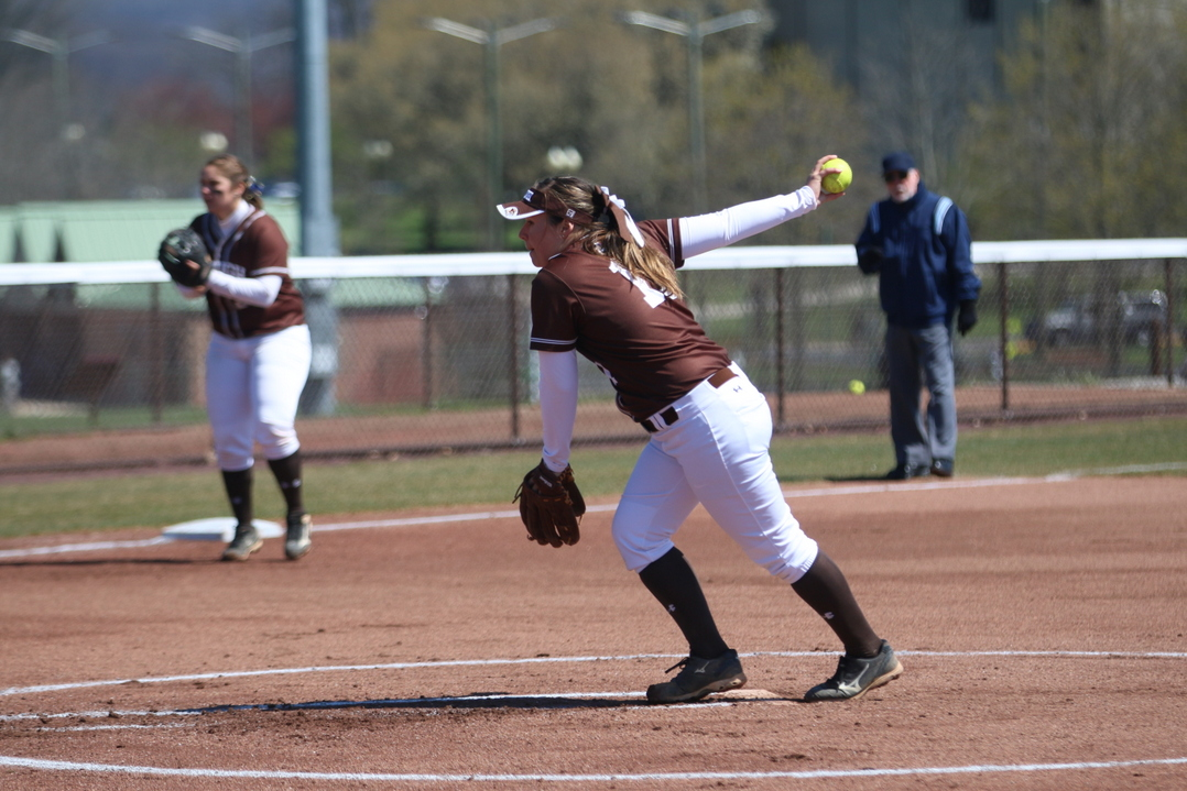 Junior pitcher Christine Campbell winds up for a pitch during the second game of a double header against Colgate University on Sunday, April 10, 2016, at Leadership Park. Campbell is the top pitcher for the Mountain Hawks, leading the team in win percentage. (Erik Thomas/B&W Photo)