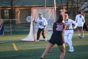 Junior goalkeepet Taylor Tvedt guards the goal during a game against Rutgers University on Tuesday, April 5, 2016 at Ulrich Sports complex. Lehigh won the game 9-6. (Austin Vitelli/B&W Staff)