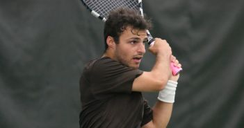Senior captain Jeremy Kochman follows through on a backhand shot in the Patriot League quarterfinals against Colgate on Friday, April 29th, 2016 at the Lewis Tennis Center.
