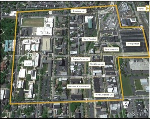 The area of study for the Bethlehem parking survey. (Courtesy of the Bethlehem Parking Authority)