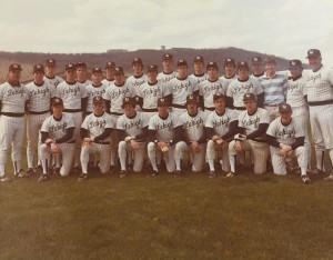 "Above is a photo of Lehigh's 1984 East Coast Conference Championship Team. Dubbed as ""The Lumber Company"" for its deep and powerful offense, Tony Rinaldi is located in the first row and second from the right and was an integral part of the team as a two-way catcher as just a true freshman."