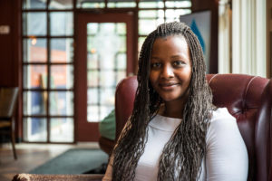 Tshegofatso Thulare, '16G, smiles for a photo Thursday, Sept. 8, 2016. A Lehigh graduate student for comparative international education and in the Fulbright Program, Tulare is originally from South Africa and is interested and passionate about developmental work. (Vincent Liu/B&W Staff)