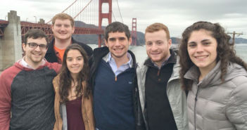 From left: Joel Robinson, '17, Patrick Kroll, '17, Amanda Lane, '18, Francis Hogan, '17, Jason Harlam, '17, and Brianna Riggs, '18, stand in front of the Golden Gate Bridge for a group photo on January 9, 2016. These six Lehigh students, and other Lehigh students, traveled to California for a week as part of the LehighSiliconValley program. (Courtesy of Patrick Kroll)