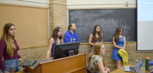 From left: Society of Women Engineers officers Maria Castro, '18, President Cassandra Gakos, '17, Elisabeth Oglevee, '18, Kianna Lauck, '18, Rachel Santangelo, '17, and in front Kira Gobes, '18, talk about the upcoming WE16 conference in Philadelphia at a club meeting on Thursday, Sept. 22, 2016, in Maginnes Hall. The club helped host a successful Women in Engineering summer camp called CHOICES here at Lehigh last summer. (Malcolm Scobell/B&W Staff)