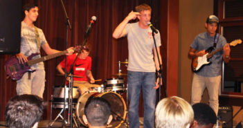 """A Random Band performs the song """"Ain't No Rest for the Wicked,"""" originally by Cage the Elephant, at the Lehigh's Got Talent event in Lamberton Hall on Friday, Sept. 23, 2016. Lehigh's Got Talent is semester-long student talent competitions in which contestants are eliminated via public voting until a winner is decided at the end of the semester. (Bryan Kim/B&W Staff)"""