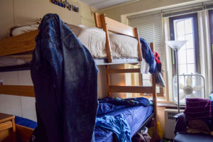 Beds are bunked in a forced double on Nov. 19, 2015, in Richards House. According to Ozzie Breiner, director of Residential Services, forced doubles are rooms less than 150 square feet. (Roshan Giyanani/B&W Staff)